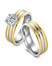 Komplet złoto-srebrny pierścionek + złoto-srebrna obrączka ze stali szlachetnej 316L PO3