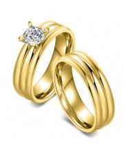Komplet złoty pierścionek + złota obrączka ze stali szlachetnej 316L PO4