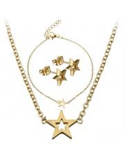 Złoty komplet bransoletka, naszyjnik, kolczyki celebrytka gwiazda ze stali szlachetnej 316L