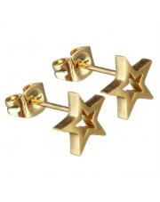 Złote kolczyki celebrytka gwiazdka ze stali szlachetnej 316L