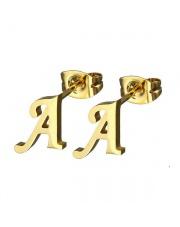 Złote kolczyki literka A ze stali szlachetnej 316L
