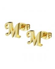 Złote kolczyki literka M ze stali szlachetnej 316L