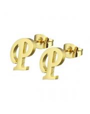 Złote kolczyki literka P ze stali szlachetnej 316L