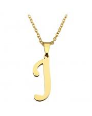Złoty naszyjnik literka J ze stali szlachetnej 316L