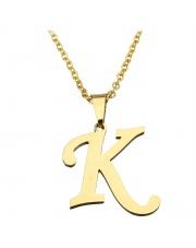 Złoty naszyjnik literka K ze stali szlachetnej 316L