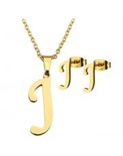 Złoty komplet naszyjnik, kolczyki literka J ze stali szlachetnej 316L