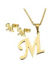 Złoty komplet naszyjnik, kolczyki literka M ze stali szlachetnej 316L