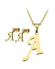 Złoty komplet naszyjnik, kolczyki literka A ze stali szlachetnej 316L