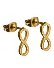 Złote kolczyki celebrytka infinity nieskończoność ze stali szlachetnej 316L