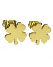 Złote kolczyki celebrytka koniczynka ze stali szlachetnej 316L