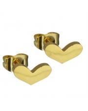 Złote kolczyki celebrytka serduszko 2 ze stali szlachetnej 316L