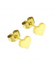 Złote kolczyki celebrytka serduszko 3 ze stali szlachetnej 316L