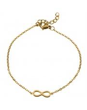 Złota bransoletka celebrytka infinity nieskończoność ze stali szlachetnej 316L