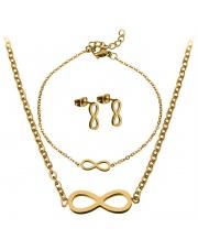 Złoty komplet bransoletka, naszyjnik, kolczyki celebrytka infinity nieskończoność ze stali szlachetnej 316L