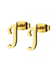Złote kolczyki literka J ze stali szlachetnej 316L