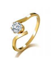 Złoty pierścionek zaręczynowy ze stali szlachetnej 316L z cyrkonią P13