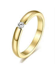 Złoty pierścionek ze stali szlachetnej 316L z cyrkonią P15