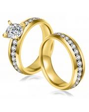 Komplet złota obrączka + złoty pierścionek ze stali szlachetnej 316L z cyrkoniami PO5