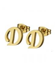 Złote kolczyki literka D ze stali szlachetnej 316L