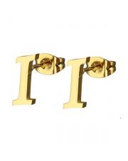 Złote kolczyki literka I ze stali szlachetnej 316L