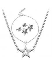 Srebrny komplet bransoletka, naszyjnik, kolczyki celebrytka gwiazda ze stali szlachetnej 316L
