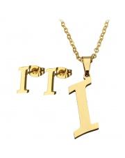 Złoty komplet naszyjnik, kolczyki literka I ze stali szlachetnej 316L