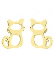 Złote kolczyki celebrytka kotek ze stali szlachetnej 316L