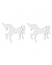 Srebrne kolczyki celebrytka konik jednorożec unicorn ze stali szlachetnej 316L