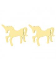 Złote kolczyki celebrytka konik jednorożec unicorn ze stali szlachetnej 316L