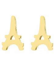 Złote kolczyki celebrytka Wieża Eiffla ze stali szlachetnej 316L