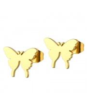 Złote kolczyki celebrytka motylki ze stali szlachetnej 316L