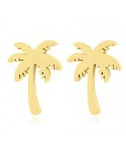 Złote kolczyki celebrytka palma ze stali szlachetnej 316L