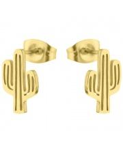 Złote kolczyki celebrytka kaktus ze stali szlachetnej 316L