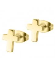 Złote kolczyki celebrytka krzyż ze stali szlachetnej 316L