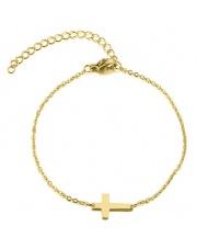 Złota bransoletka celebrytka krzyż ze stali szlachetnej 316L