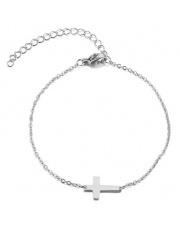 Srebrna bransoletka celebrytka krzyż ze stali szlachetnej 316L
