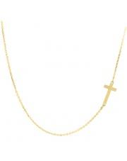 Złoty naszyjnik, łańcuszek celebrytka krzyż ze stali szlachetnej 316L