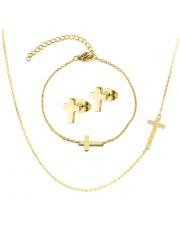Złoty komplet bransoletka, naszyjnik, kolczyki celebrytka krzyż ze stali szlachetnej 316L