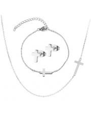 Srebrny komplet bransoletka, naszyjnik, kolczyki celebrytka krzyż ze stali szlachetnej 316L