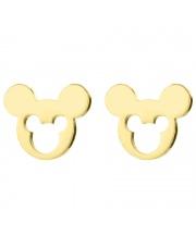 Złote kolczyki celebrytka myszka miki mickey mouse 2 ze stali szlachetnej 316L