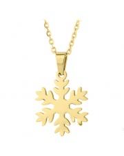Złoty naszyjnik, łańcuszek celebrytka śnieżynka ze stali szlachetnej 316L