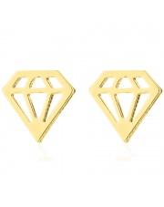 Złote kolczyki celebrytka diament ze stali szlachetnej 316L