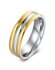 Złoto-srebrna obrączka ze stali szlachetnej 316L O15