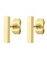 Złote kolczyki celebrytka prostokąt ze stali szlachetnej 316L