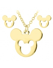 Złoty komplet naszyjnik, kolczyki celebrytka myszka miki mickey mouse ze stali szlachetnej 316L
