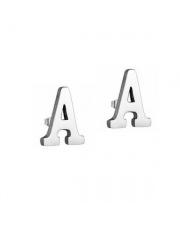 Srebrne kolczyki literka A ze stali szlachetnej 316L