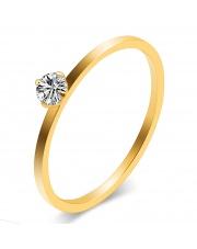 Złoty pierścionek zaręczynowy ze stali szlachetnej 316L z cyrkonią P1