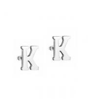 Srebrne kolczyki literka K ze stali szlachetnej 316L