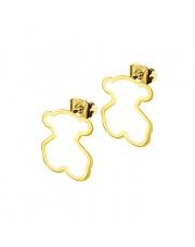 Złote kolczyki celebrytka miś 2 ze stali szlachetnej 316L