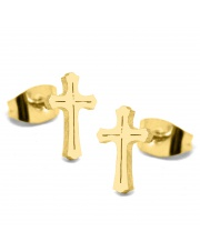 Złote kolczyki celebrytka krzyż 3 ze stali szlachetnej 316L